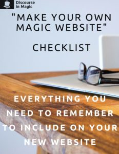 Make Your Own Magician Website - Checklist